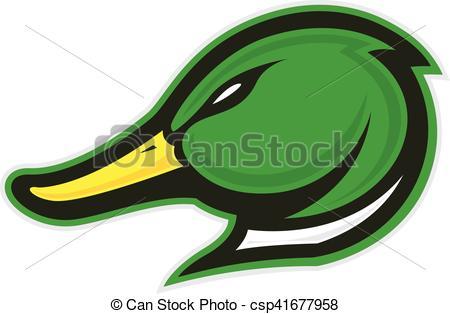 Duck head mascot.
