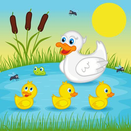 Mother Duck With Ducklings In Pond Clipart & Free Clip Art Images.