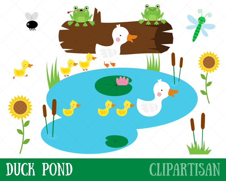 Duck Pond Clipart / Mother Duck and Ducklings Clip Art.