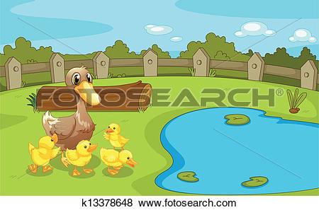 Clip Art of Ducks near the small pond k13378648.
