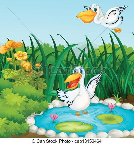 Clip Art Vector of A pond with ducks.