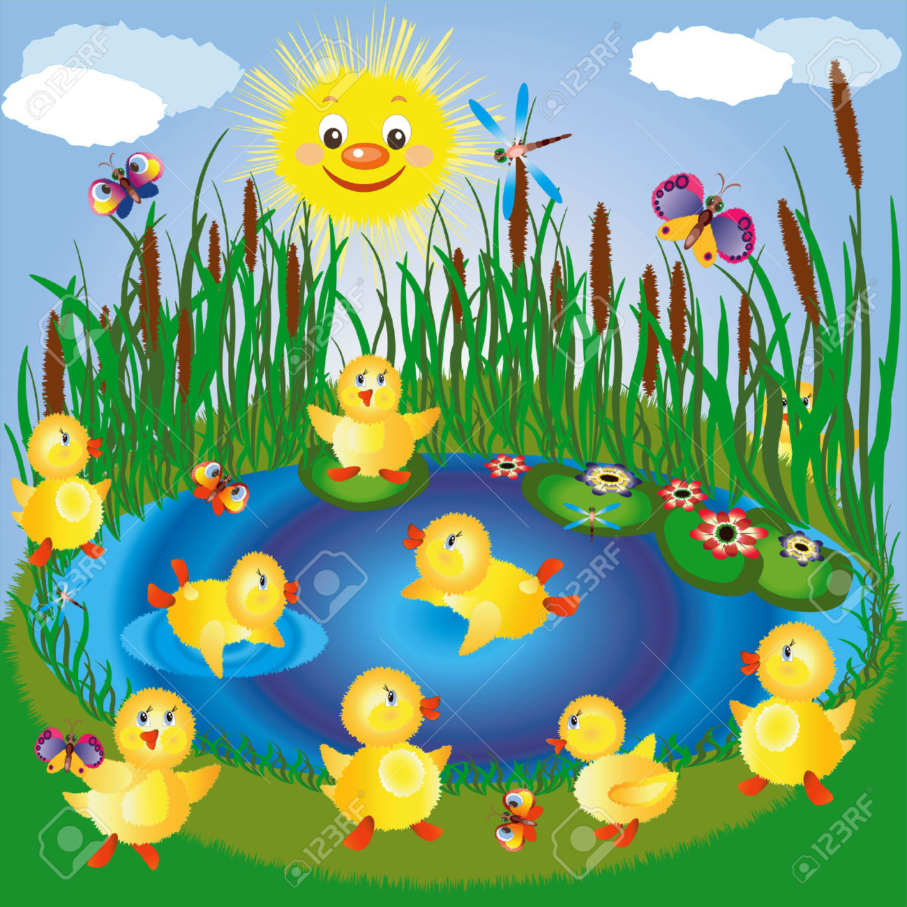 duck in the pond clipart #2