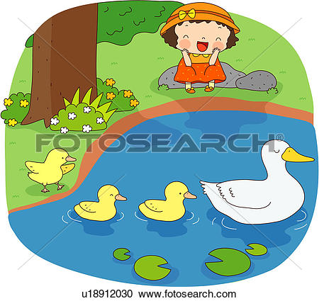 Stock Illustrations of flower, lake, field, tree, duck, lotus leaf.