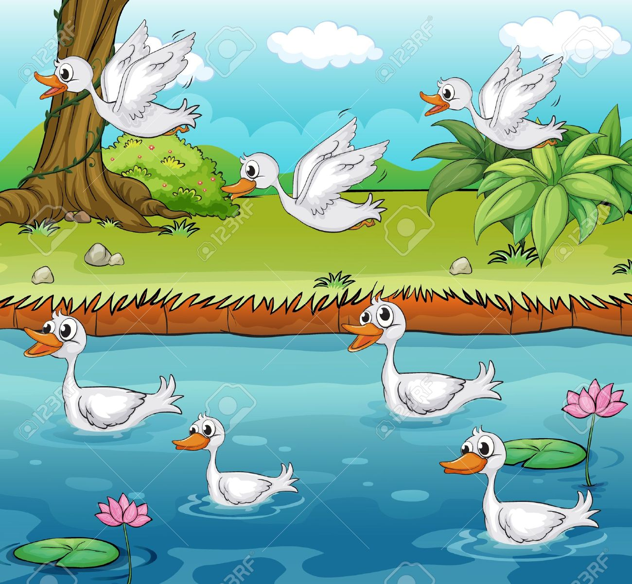 Illustration Of Swimming And Flying Ducks On A Colorful.