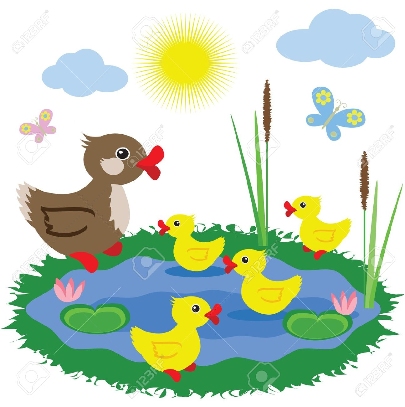 duck in the pond clipart #19