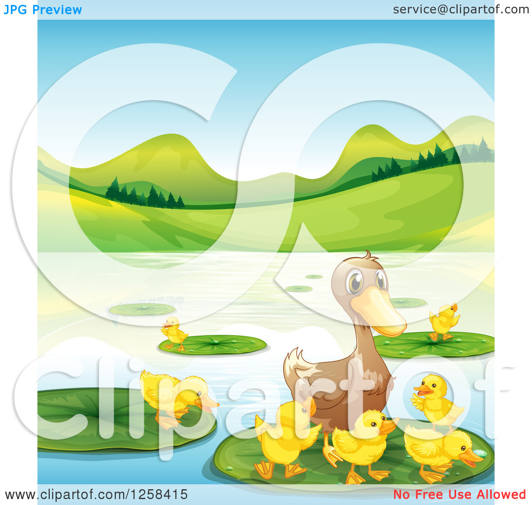Clipart of a Duck and Ducklings on a Pond or Lake.