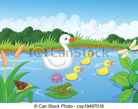Vector Clip Art of Duck family cartoon swimming.