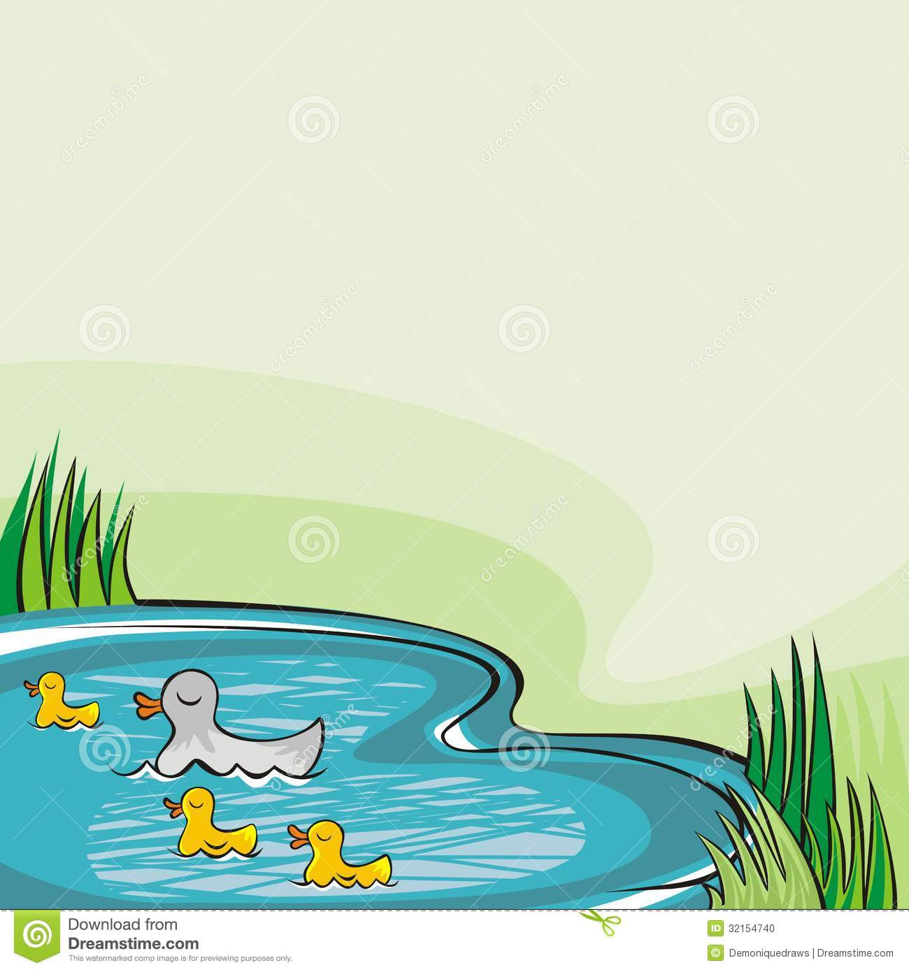 Green Ducks Clipart.