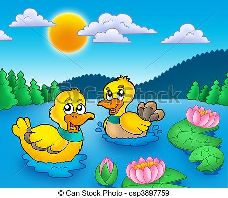 Duck pond Illustrations and Clipart. 618 Duck pond royalty free.