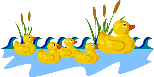 Duck Pond Black And White Clipart.