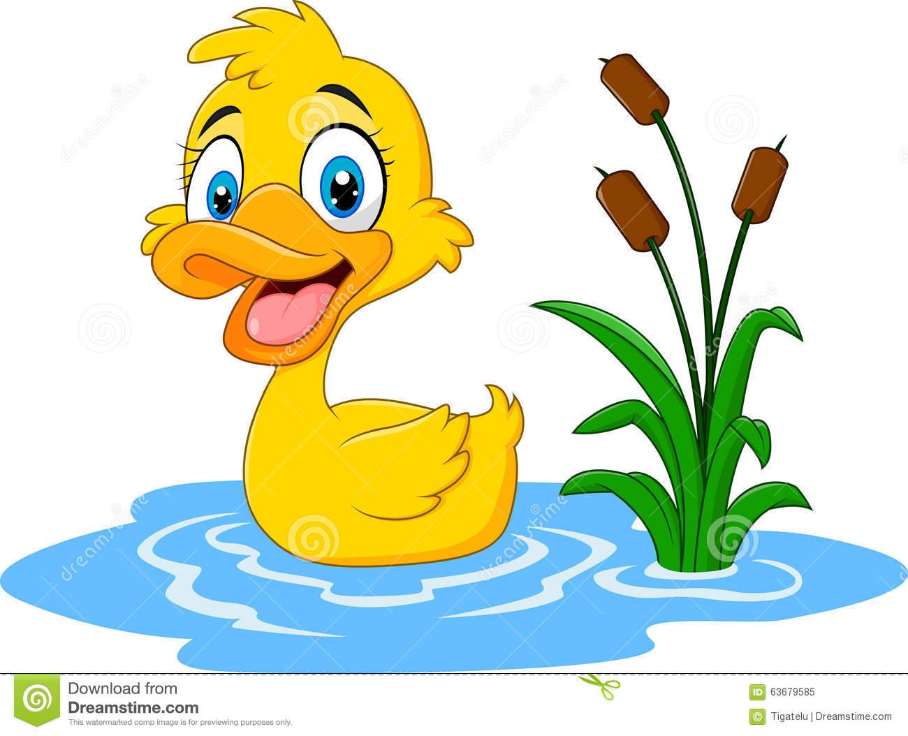 Duck in water clipart.