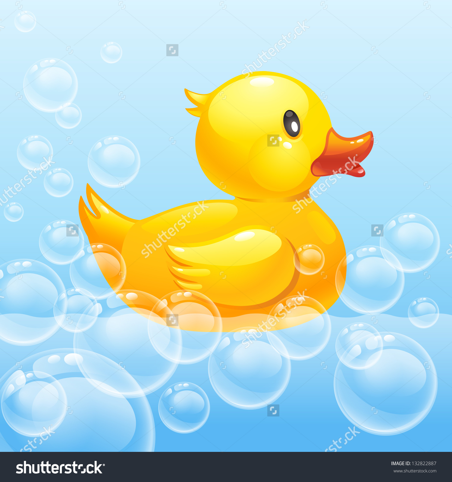 Rubber Duck Blue Water 10eps Stock Vector 132822887.