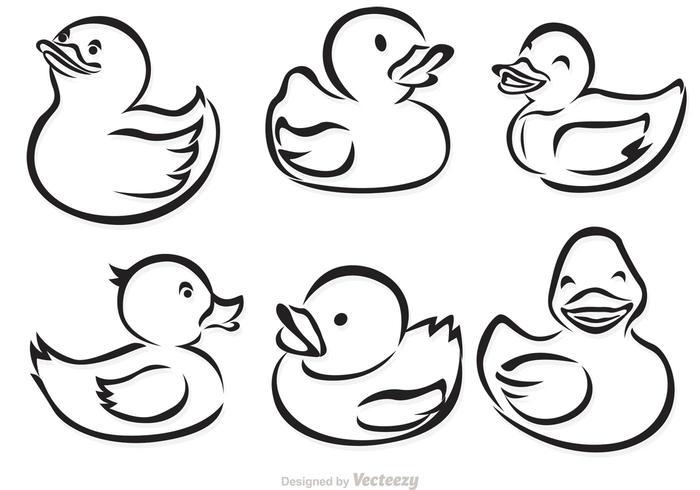 Rubber Duck Outline Vectors.