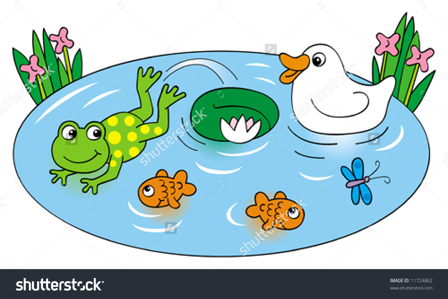 Duck pond clipart - Clipground