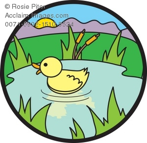 Duck in pond clipart.