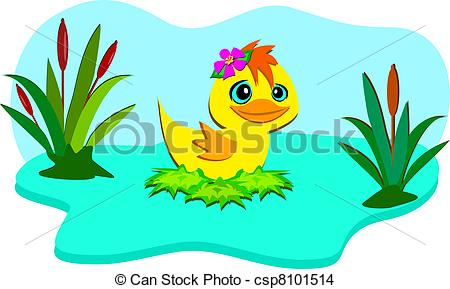 duck in the pond clipart #20