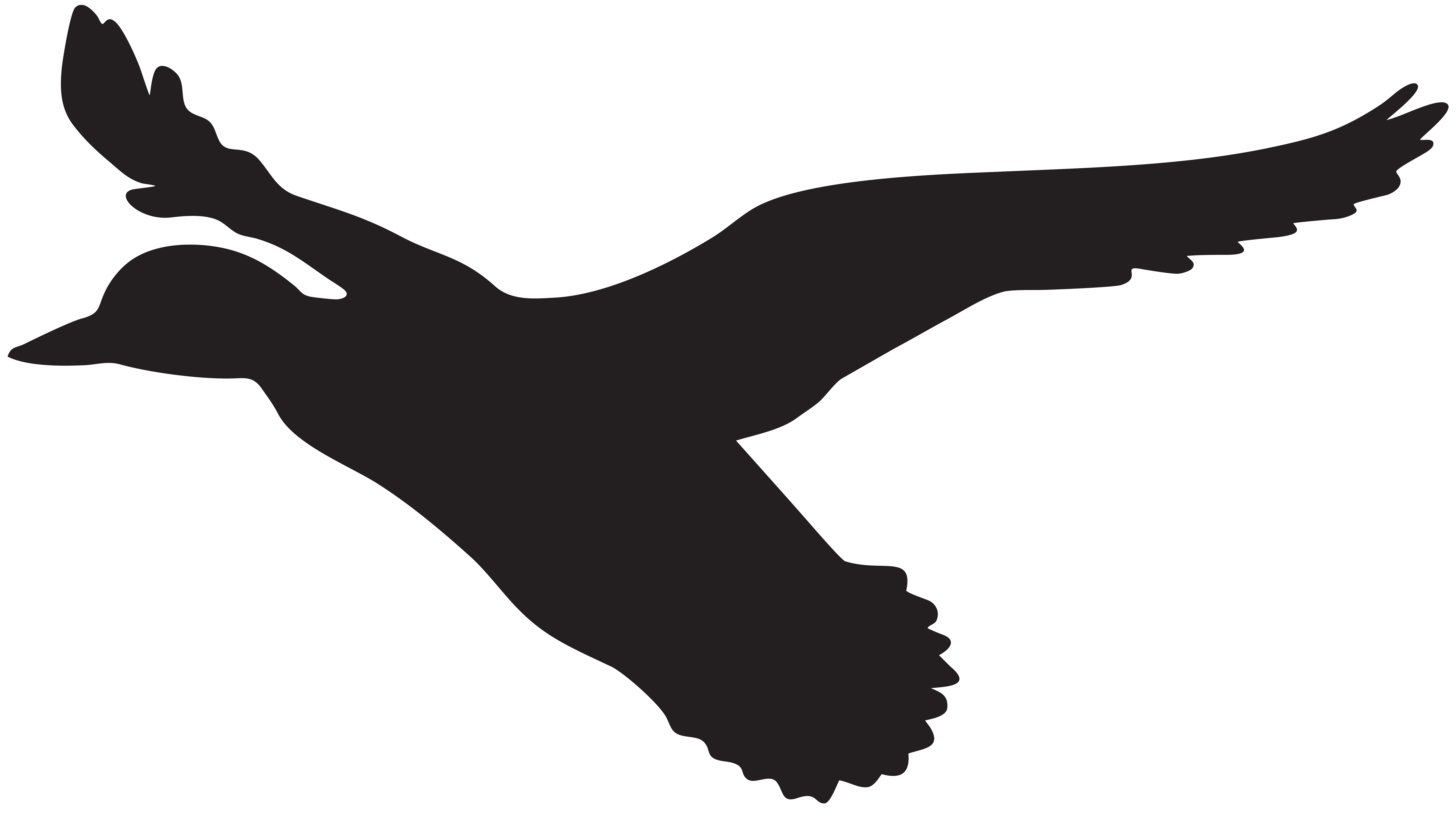 Flying Duck Silhouette PNG Clip Art Image.