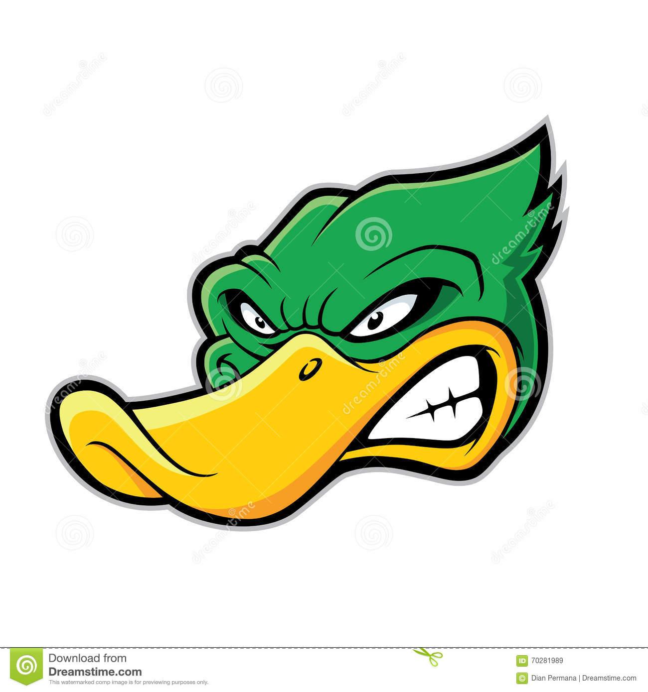 Duck head mascot stock vector. Illustration of head, face.
