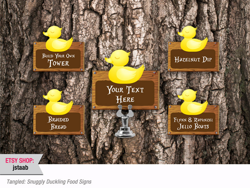 Tangled Party: 12 Snuggly Duckling Food Signs Digital File.