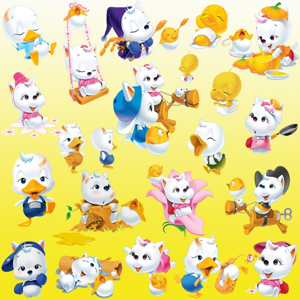 Cartoon Clipart PSD Ducklings and kittens free download.