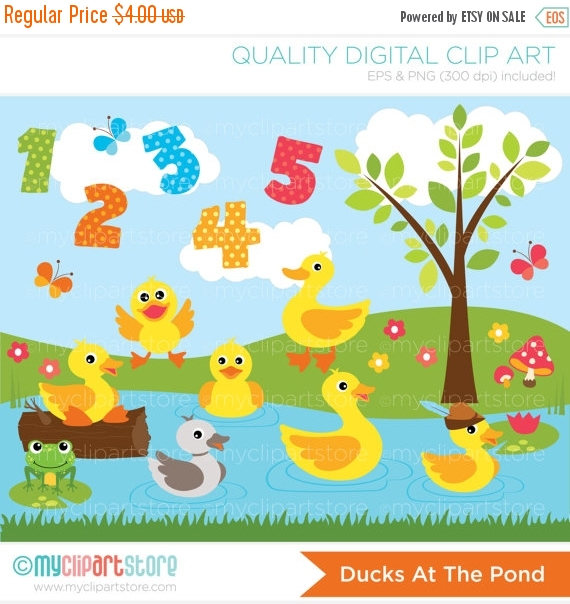 30% OFF SALE Clipart Ducks at the Pond Digital Clip Art.