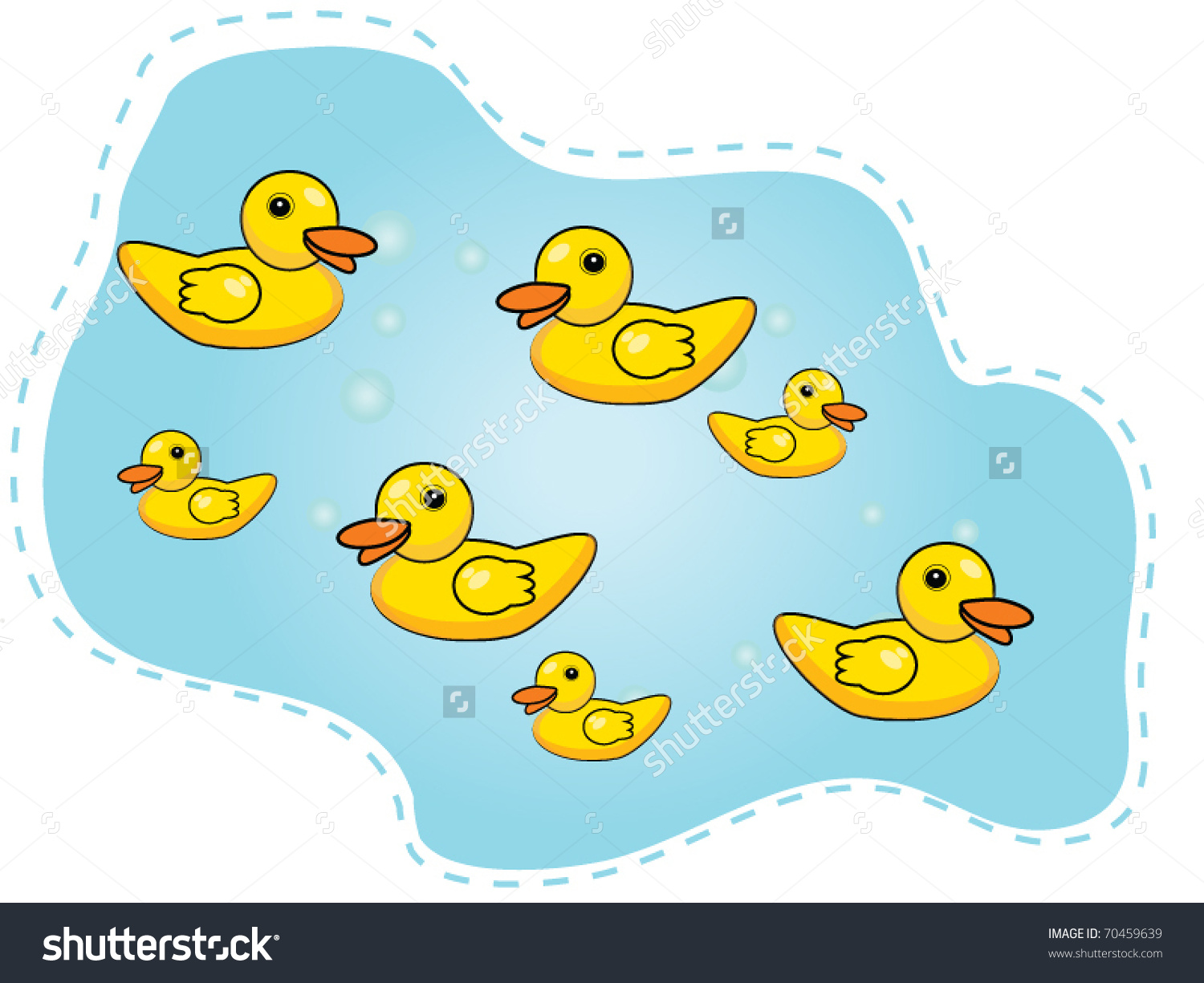 Ducks In A Pond Clipart.