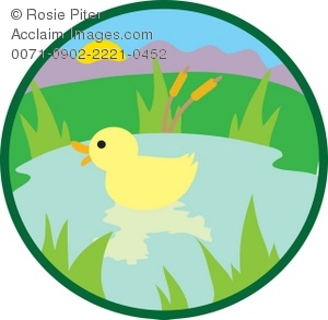 Clipart Illustration of a Duck in a Pond.