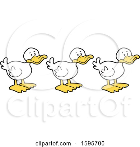 Clipart of White Ducks in a Row.
