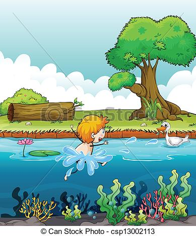 Vector Clip Art of A boy swimming with a duck in the river.