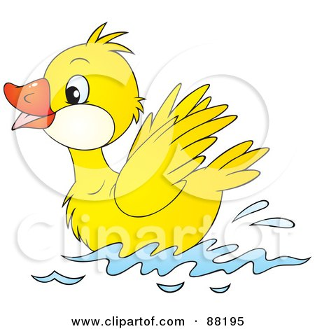 Clipart Illustration of a Pair Of Two Happy Ducks Swimming In A.