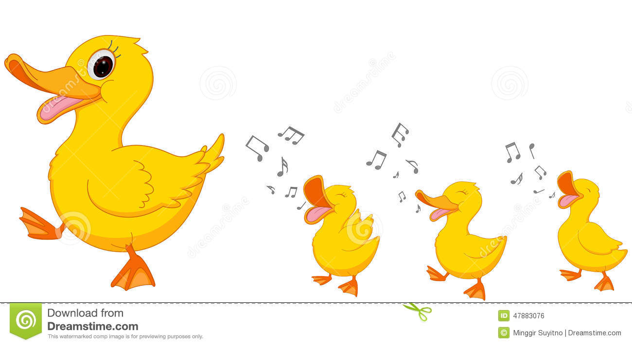 Funny Cartoon Duck Family Stock Photos.