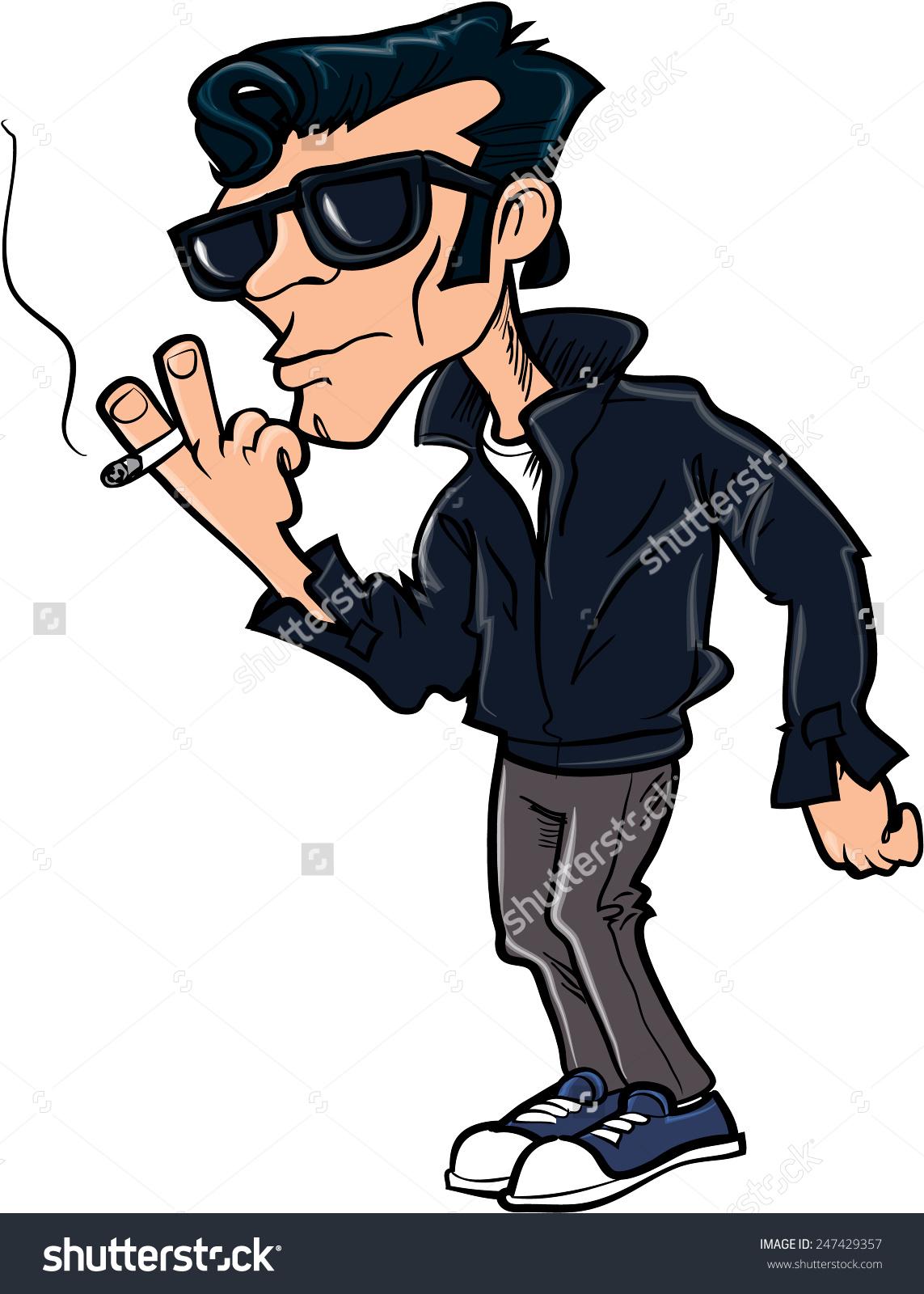Cartoon 50s Duck Tail Character Smoking Stock Vector 247429357.