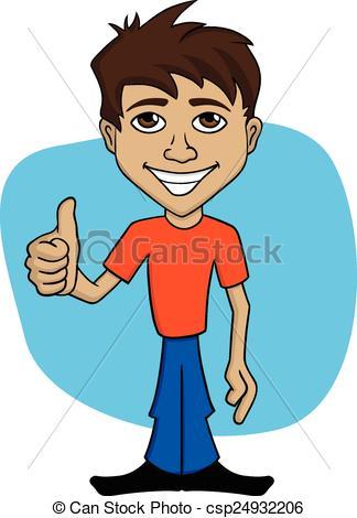 Vector Clipart of Cartoon illustration of a happy man.