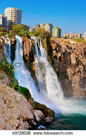 Stock Images of Waterfall Duden at Antalya, Turkey k9728036.