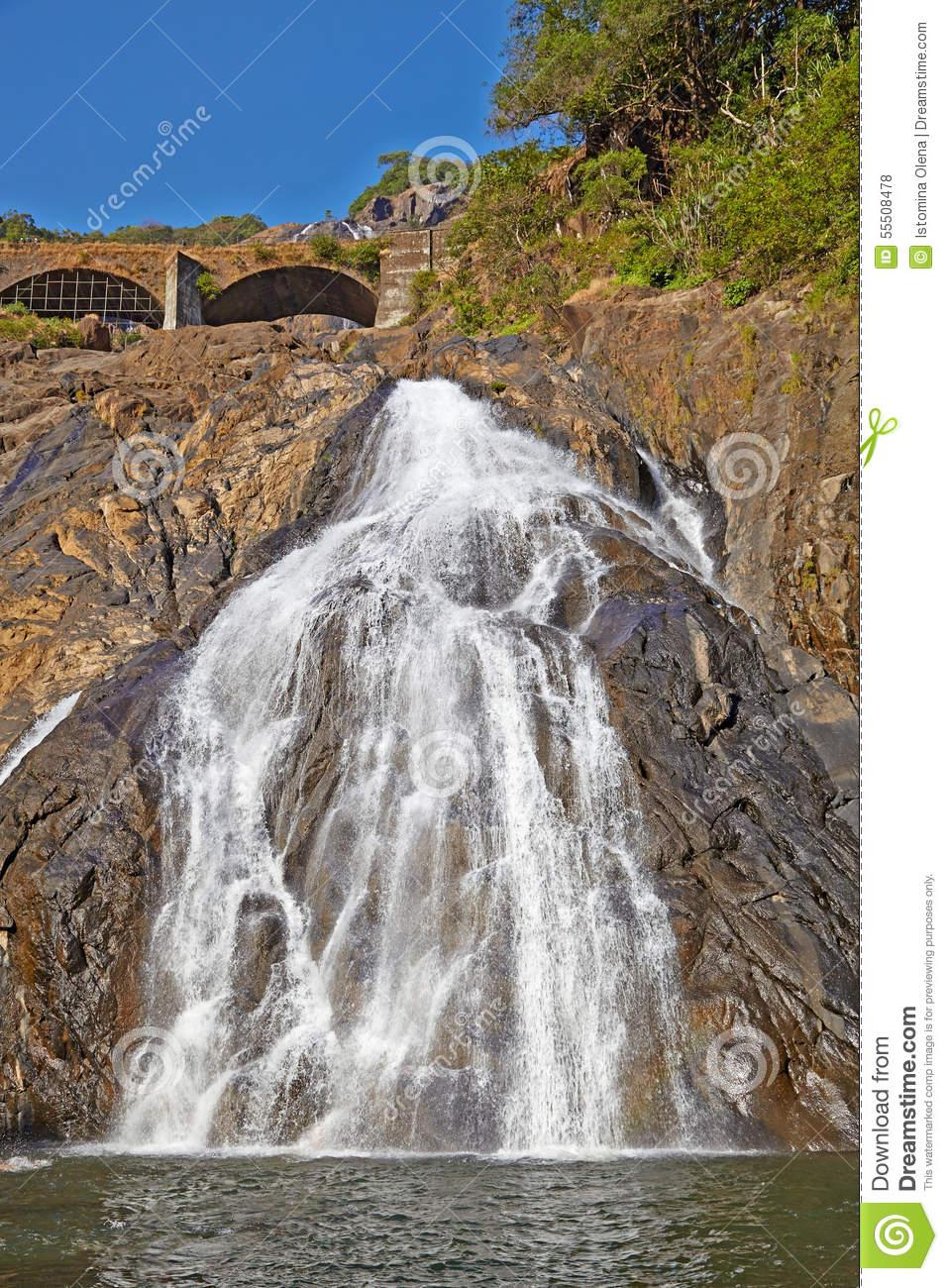 Dudhsagar Falls Stock Photo.