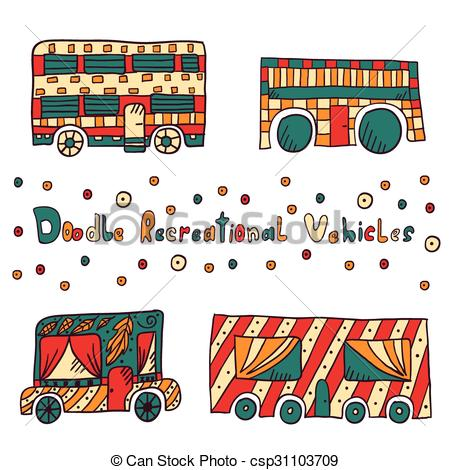 Vector Clipart of Doodle recreational vehicles.