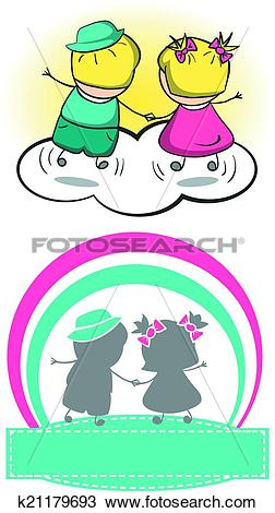 Clipart of Boy and girl Dudley. Vector illustration. k21179693.