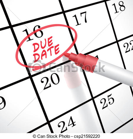 Vector Illustration of due date words circle marked on a calendar.