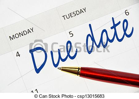 Pictures of Due date note in the calendar csp13015683.