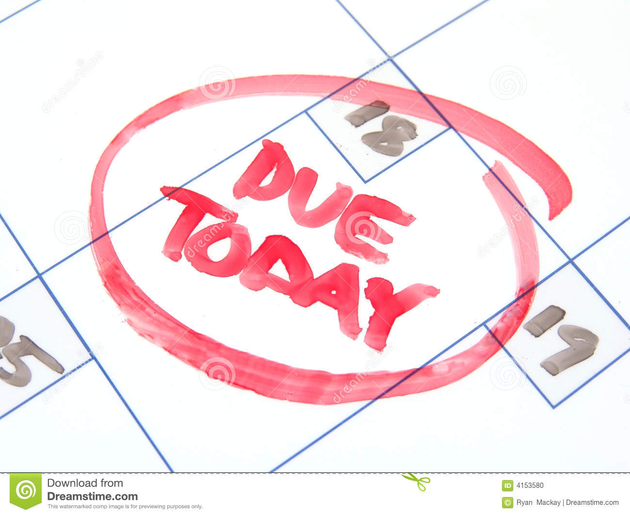 Due today stock photo. Image of date, calendar, looming.
