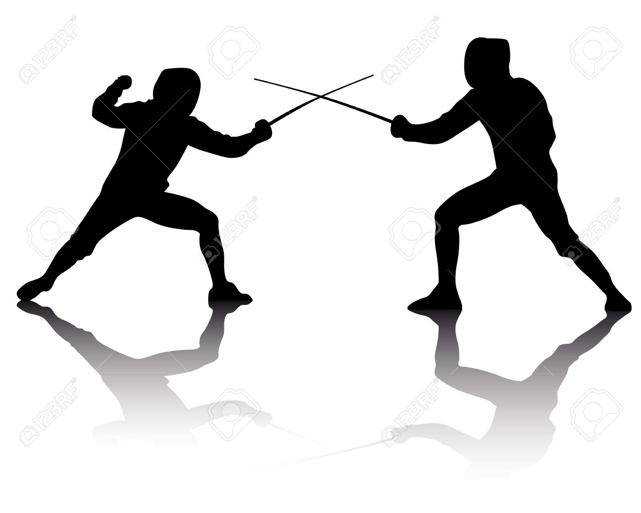 Black Silhouettes Of Athletes Fencers On A White Background.