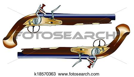 Clipart of Duelling Pistols k18570363.
