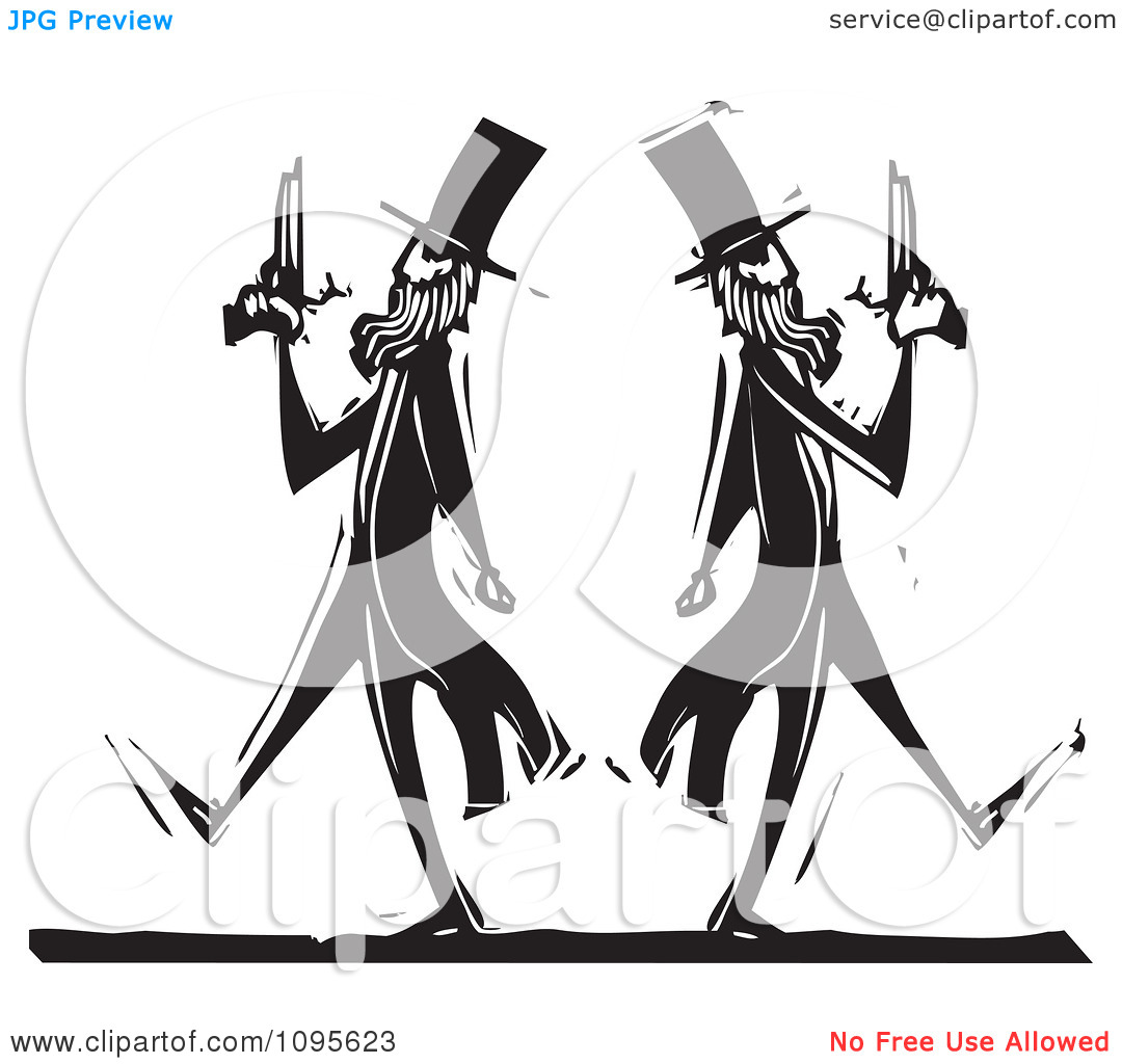 Clipart Dueling Men Pacing Away From Each Other Black And White.