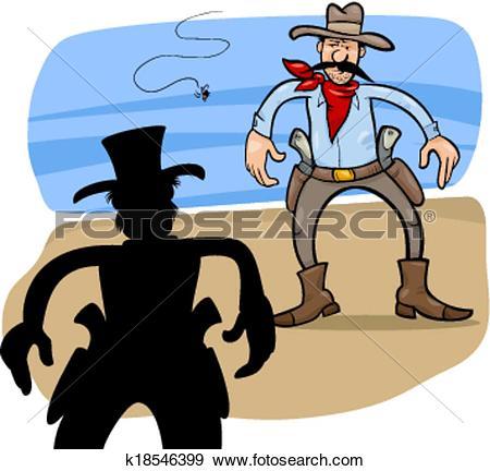 Clip Art of gunmen duel cartoon illustration k18546399.