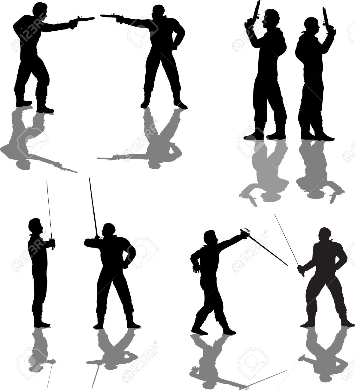 Duelist Silhouettes Royalty Free Cliparts, Vectors, And Stock.