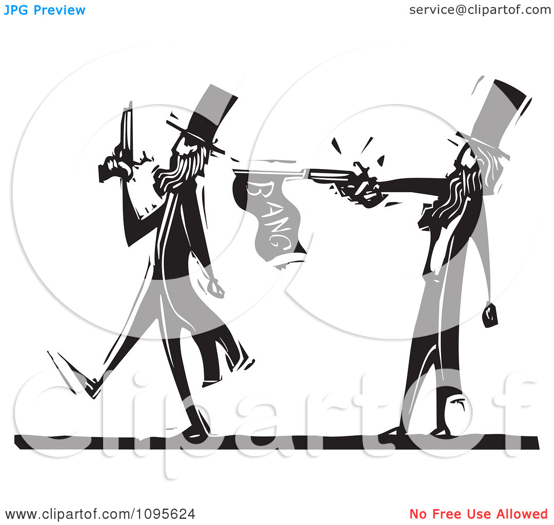Clipart Dueling Man Pacing Away From An Opponent With A Prank Gun.