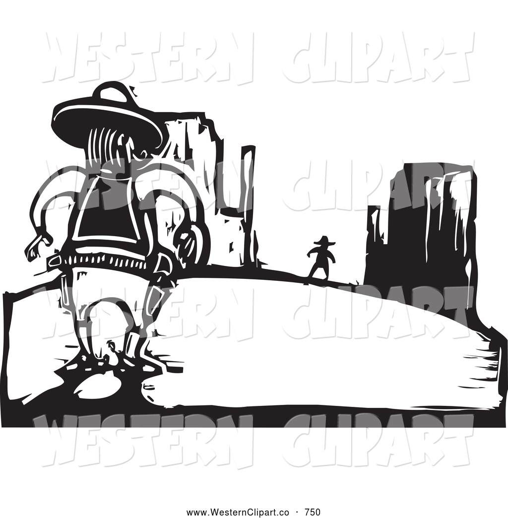 Vector Western Clip Art of Black and White Woodcut Wild West.