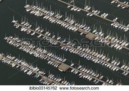 """Stock Photo of """"Aerial view, sailboats, Residenz Hohe Duene marina."""