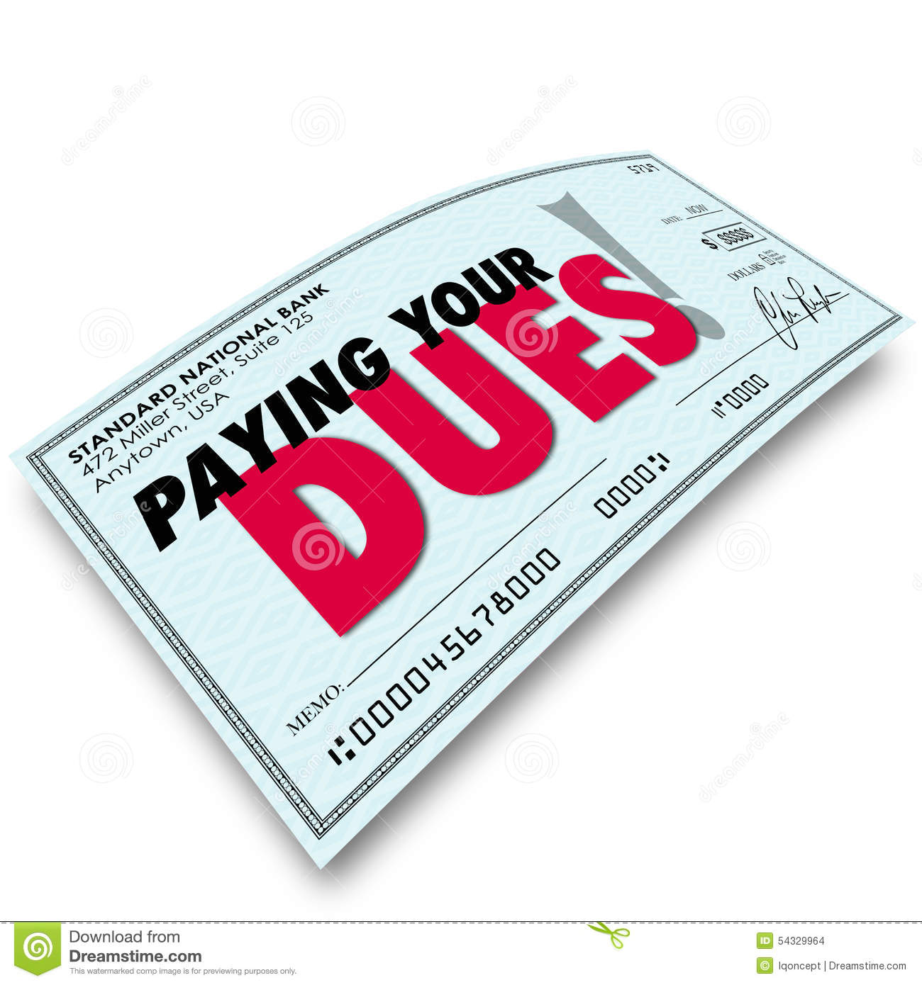 Pay Your Dues Stock Illustrations.