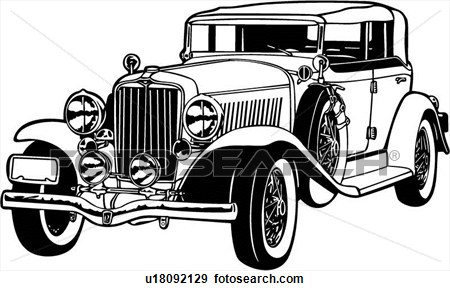 1930 car clipart black and white.